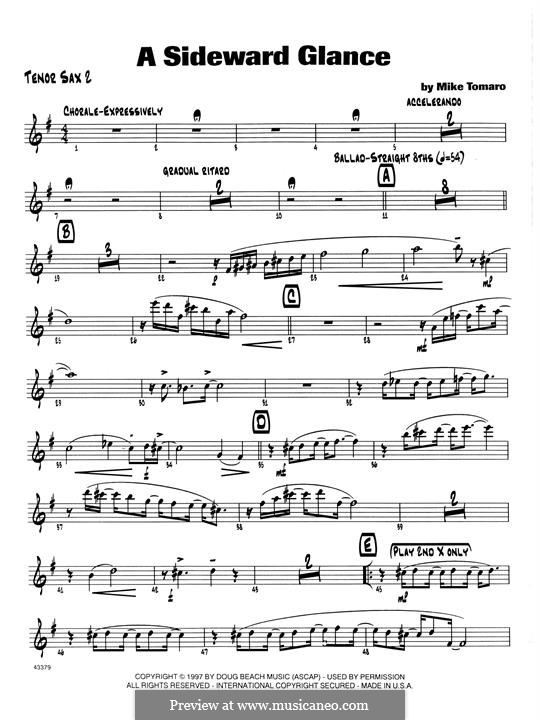 A Sideward Glance: 2nd Bb Tenor Saxophone part by Mike Tomaro