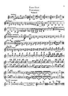 Dance of Death for Orchestra, S.126: Violinos partes I-II by Franz Liszt