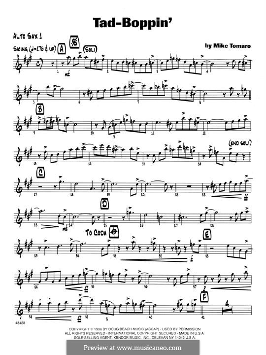 Tad-Boppin: Bass Clarinet 1 & 2 part by Mike Tomaro
