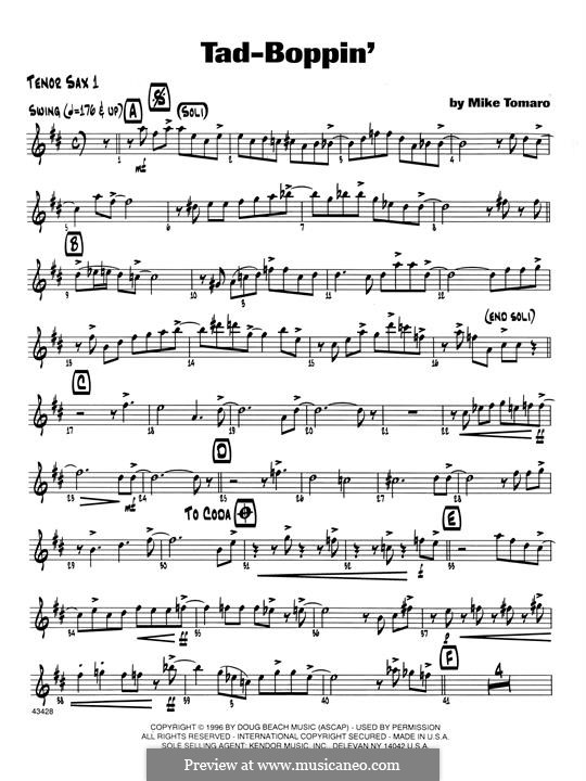 Tad-Boppin: 1st Tenor Saxophone part by Mike Tomaro