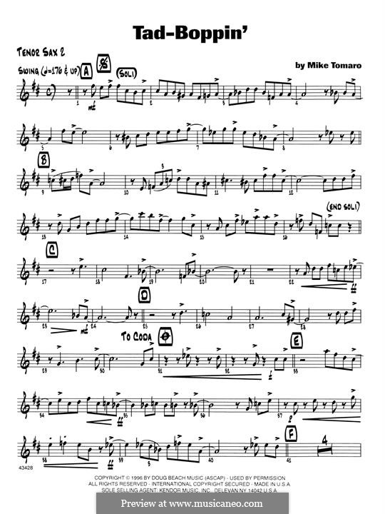 Tad-Boppin: 2nd Bb Tenor Saxophone part by Mike Tomaro
