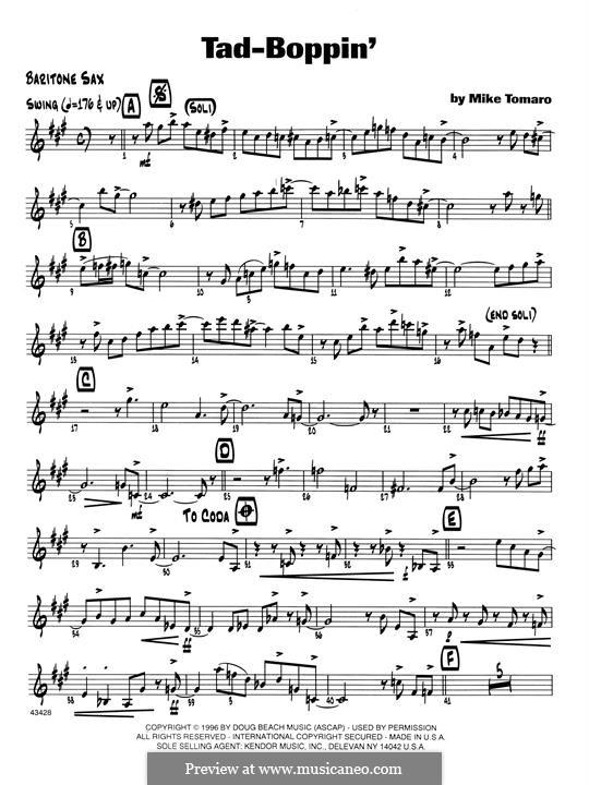 Tad-Boppin: Eb Baritone Saxophone part by Mike Tomaro