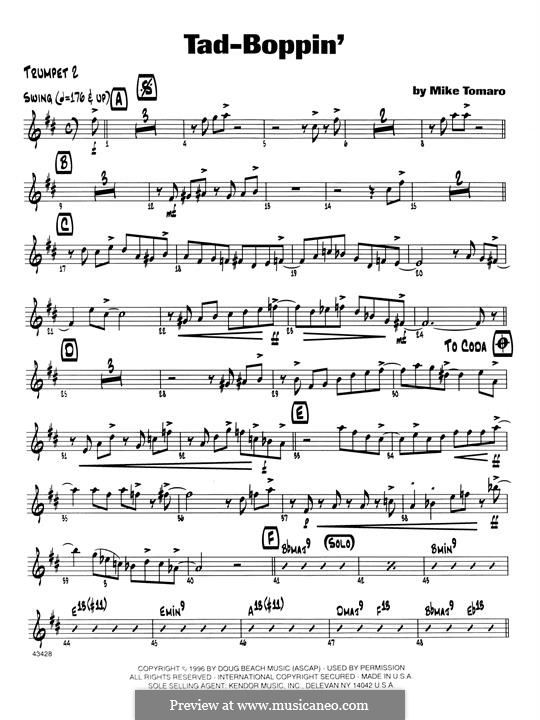 Tad-Boppin: 2nd Bb Trumpet part by Mike Tomaro