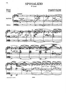 Deuxième année. Italie, S.161: No.1 Sposalizio, for Organ by Franz Liszt