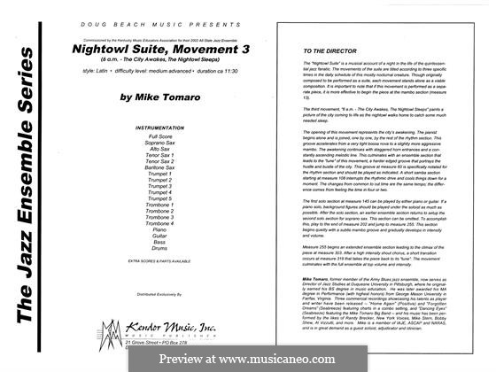 Nightowl Suite, Mvt.3: partitura completa by Mike Tomaro