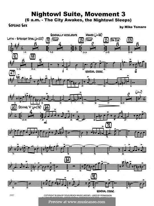 Nightowl Suite, Mvt.3: Bb Soprano Sax part by Mike Tomaro
