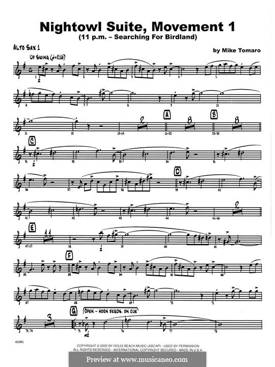 Nightowl Suite, Mvt.1: Bass Clarinet 1 & 2 part by Mike Tomaro