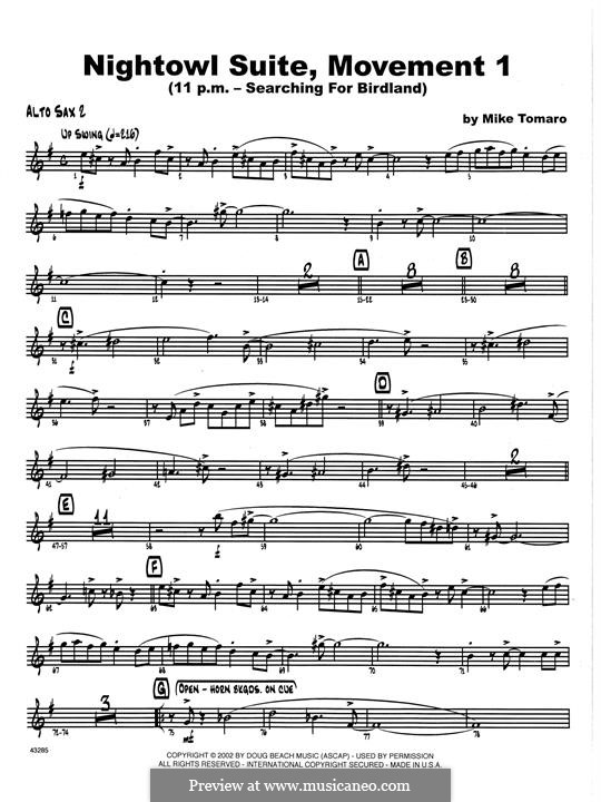 Nightowl Suite, Mvt.1: Opt. Bass Clarinet part by Mike Tomaro