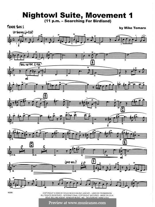 Nightowl Suite, Mvt.1: 1st Tenor Saxophone part by Mike Tomaro
