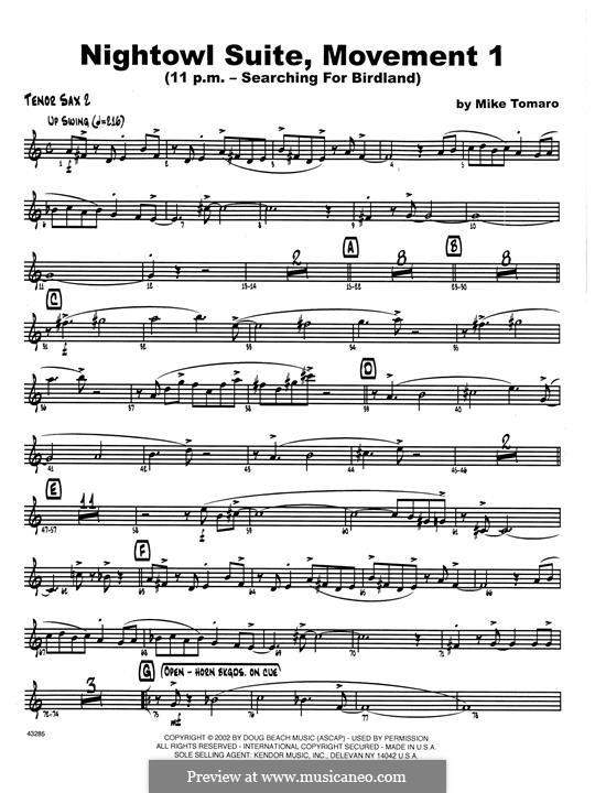 Nightowl Suite, Mvt.1: 2nd Bb Tenor Saxophone part by Mike Tomaro