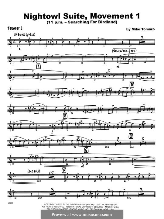 Nightowl Suite, Mvt.1: 2nd Bb Trumpet part by Mike Tomaro