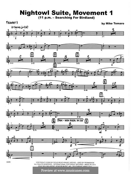 Nightowl Suite, Mvt.1: 3rd Bb Trumpet part by Mike Tomaro