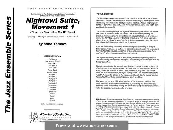 Nightowl Suite, Mvt.1: partitura completa by Mike Tomaro