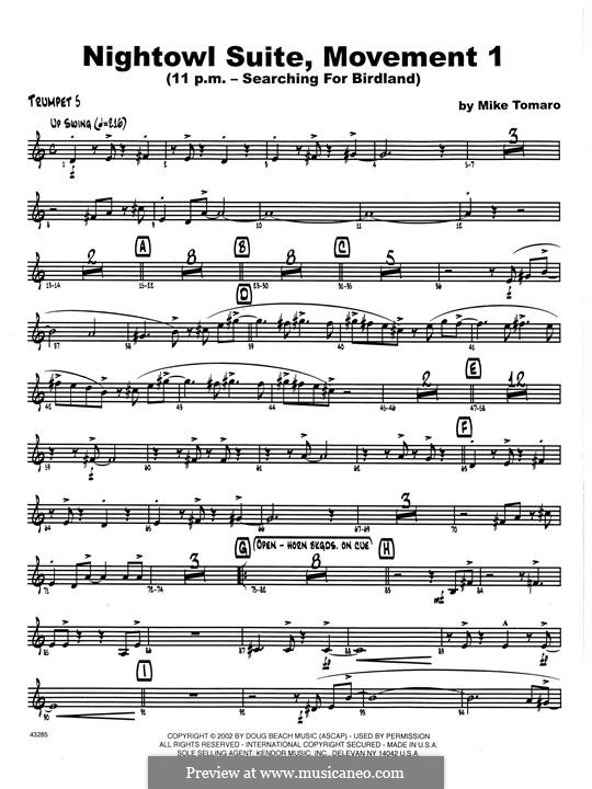 Nightowl Suite, Mvt.1: 5th Bb Trumpet part by Mike Tomaro