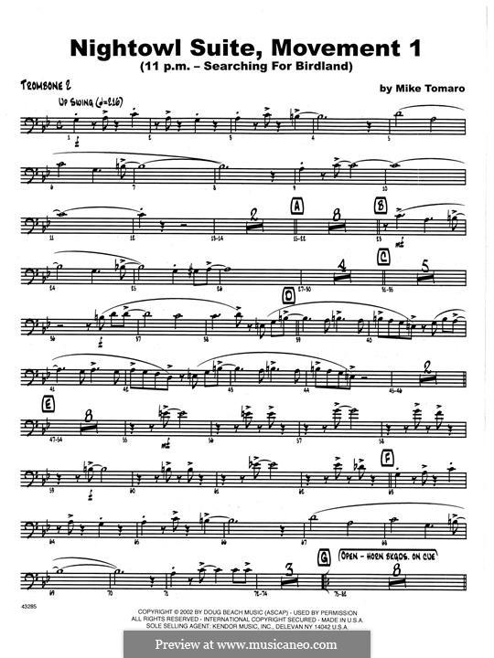 Nightowl Suite, Mvt.1: 2nd Trombone part by Mike Tomaro