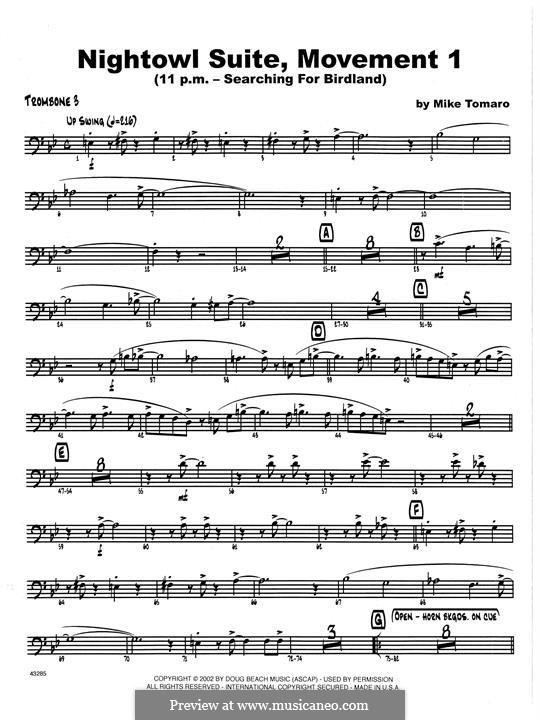 Nightowl Suite, Mvt.1: 3rd Trombone part by Mike Tomaro
