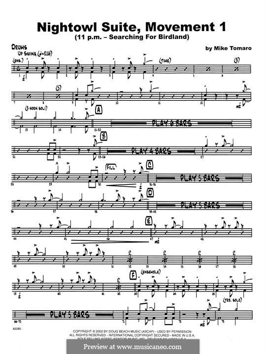 Nightowl Suite, Mvt.1: Drum Set part by Mike Tomaro