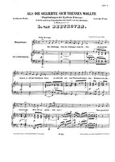 Als die Geliebte sich trennen wollte, WoO 132: Partitura piano-vocal by Ludwig van Beethoven