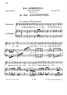 Das Geheimnis (The Secret), WoO 145: Partitura piano-vocal by Ludwig van Beethoven