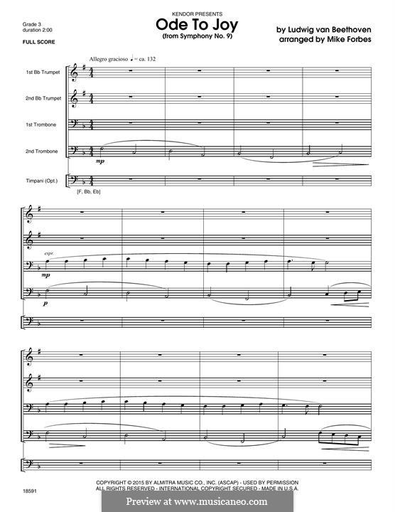 Ode to Joy (Printable scores): Fir wind quintet – full score by Ludwig van Beethoven