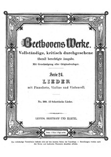 Twelve Scottish Songs, WoO 156: Twelve Scottish Songs by Ludwig van Beethoven
