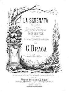 Angel's Serenade (Légende Valaque): For voice, cello (or violin) and piano (G Major) by Gaetano Braga