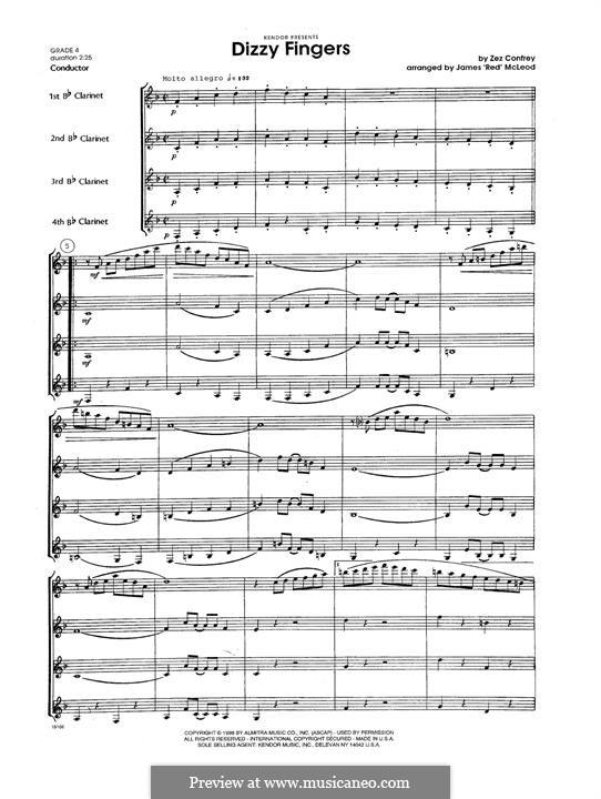 Dizzy Fingers: For clarinets - full score by Zez Confrey