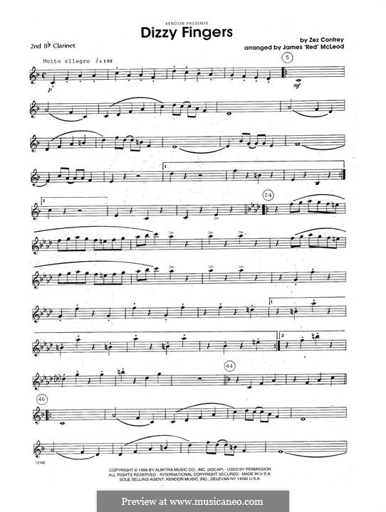 Dizzy Fingers: For clarinets - 2nd Bb Clarinet part by Zez Confrey