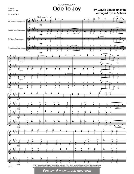 Ode to Joy (Printable scores): For quartet saxophones - full score by Ludwig van Beethoven
