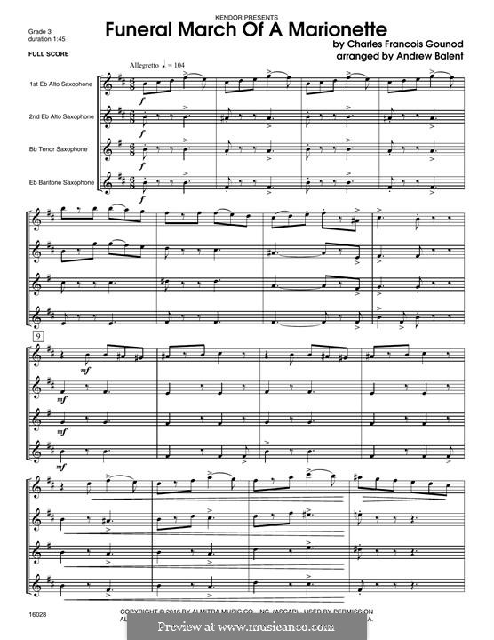 Funeral March of Marionette: For quartet saxophones - full score by Charles Gounod