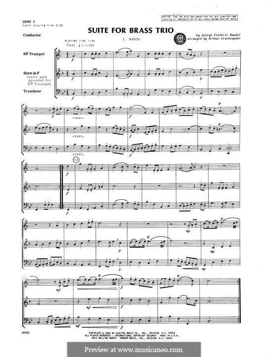 Suite for Brass Trio: partitura completa by Georg Friedrich Händel