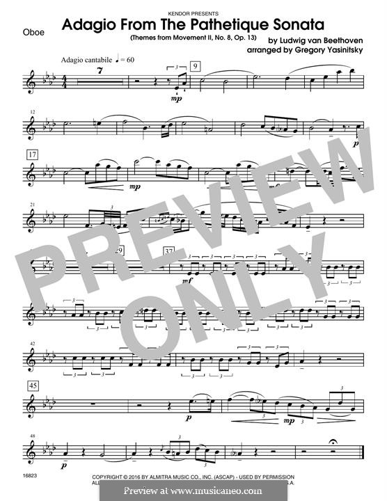 Movement II (Printable scores): Themes, for winds - oboe part by Ludwig van Beethoven
