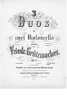 Three Duets for Two Cellos, Op.22: Duet No.3 – cello I part by Friedrich Grützmacher