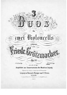Three Duets for Two Cellos, Op.22: Duet No.3 – cello II part by Friedrich Grützmacher