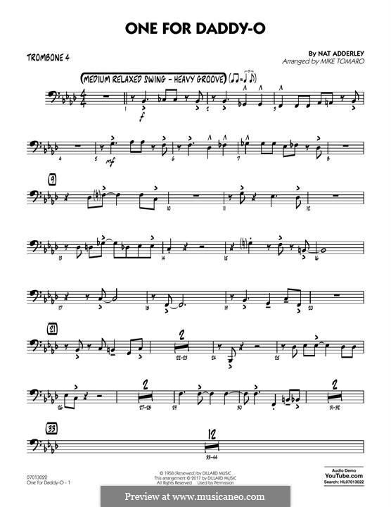 One for Daddy-O: Trombone 4 part by Nat Adderley Jr.