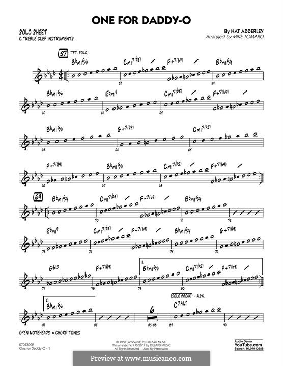 One for Daddy-O: C Solo Sheet part by Nat Adderley Jr.