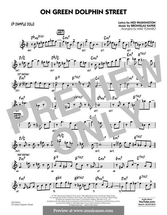 On Green Dolphin Street (Jazz Ensemble version): Eb Sample Solo part by Bronislau Kaper