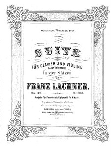 Suite for Violin (or Cello) and Piano, Op.140: partitura by Franz Paul Lachner