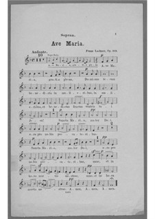 Ave Maria for Voice, Choir, Strings and Organ (or Harmonium), Op.162: Soprano Part (Choir) by Franz Paul Lachner