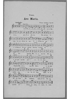 Ave Maria for Voice, Choir, Strings and Organ (or Harmonium), Op.162: parte tenor by Franz Paul Lachner