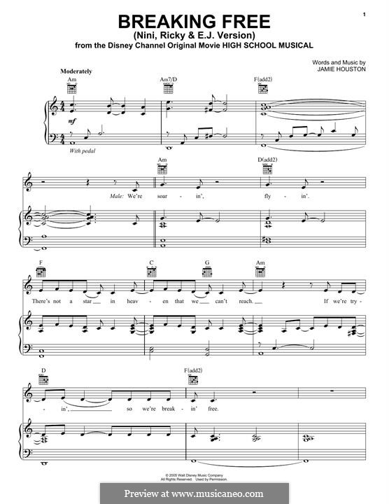 Breaking Free (from High School Musical): Para vocais e piano (ou Guitarra) by Jamie Houston