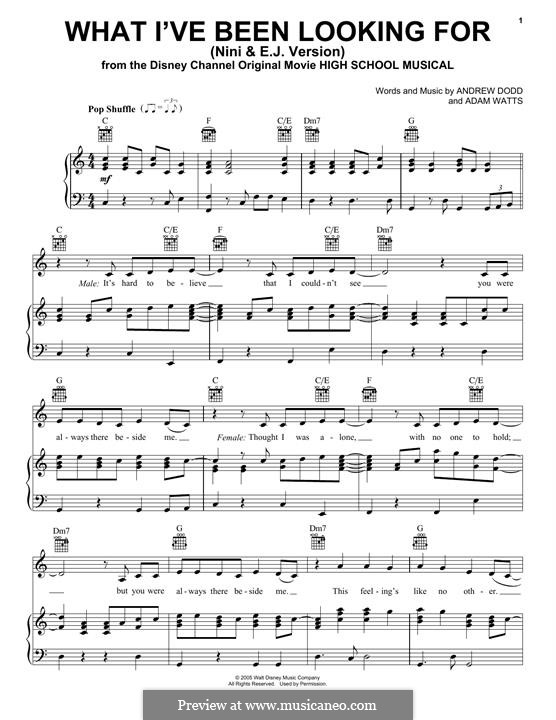 What I've Been Looking for (High School Musical): Para vocais e piano (ou Guitarra) by Adam Watts, Andrew Dodd