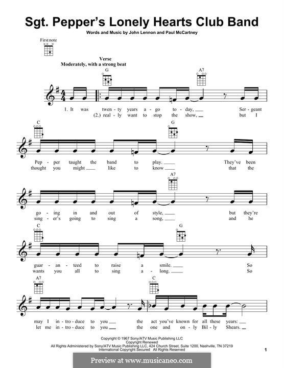 Sgt. Pepper's Lonely Hearts Club Band (The Beatles): para ukulele by John Lennon, Paul McCartney