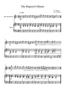 Austrian National Hymn, Hob.XXVIa/43: para alto saxofone e piano by Joseph Haydn