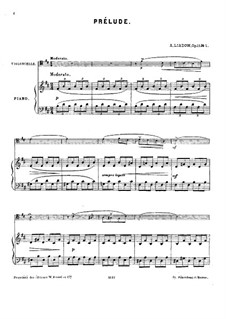 Three Piano Pieces, Op.11: No.1 Prelude for cello and piano – score by Anatoly Lyadov