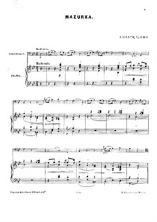 Three Piano Pieces, Op.11: No.2 Mazurka for cello and piano – score by Anatoly Lyadov