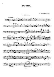 Three Piano Pieces, Op.11: No.2 Mazurka for cello and piano – cello part by Anatoly Lyadov