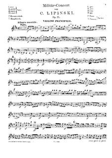 Concerto Militaire for Violin and Orchestra, Op.21: para violino e piano - parte solo by Karol Józef Lipiński