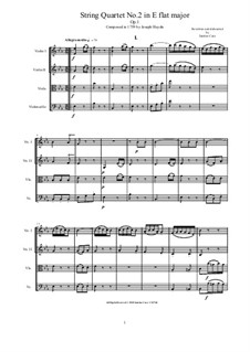 String Quartet No.2 in E Flat Major, Hob.III/2 Op.1 No.2: Complete score and parts by Joseph Haydn