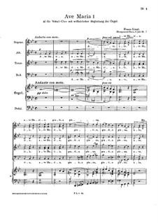 Ave Maria I, S.20: pimeira versão by Franz Liszt